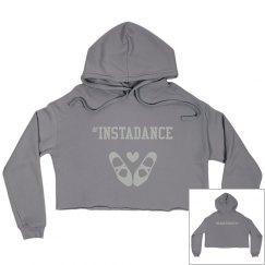#Instadance cropped fleece hoodie (gray)