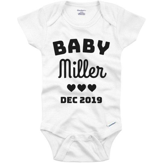 Baby Announcement Custom Last Name Onesie