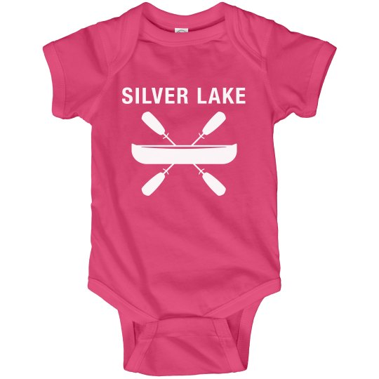 Baby onsie with Silver Lake canoe design