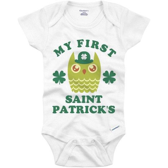 Babys 1ST St Pattys Owl Onesie