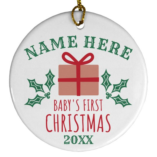 Baby's First Custom Present Ornament