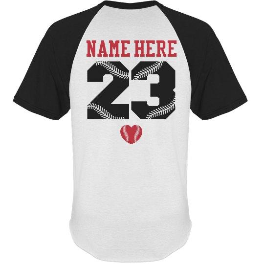 Baseball Girlfriend Tee With Custom Name Number Back