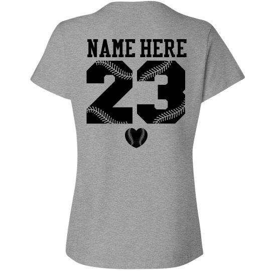 Baseball Girlfriend Tee With Custom Name Number