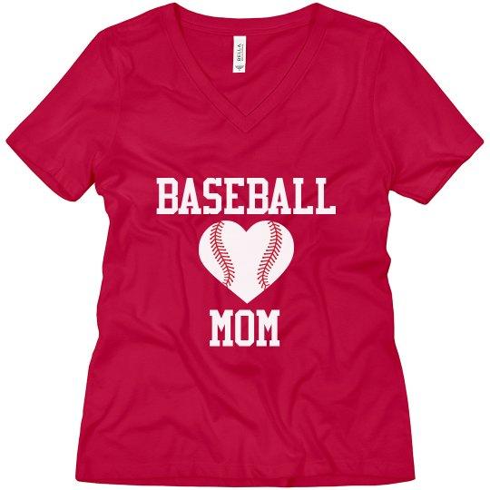 Baseball Mom Baseball Heart Custom Shirt