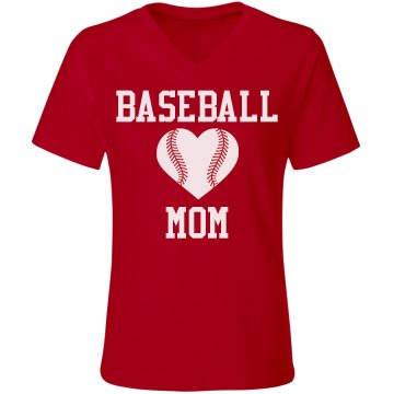 Baseball Mom Baseball Heart Custom Shirt
