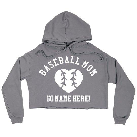 Baseball Mom Custom Crop Sweatshirt