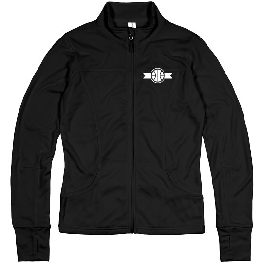 Basketball Emblem Custom Name Zip Jacket