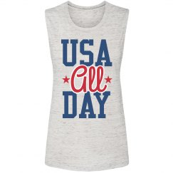 USA All Day American July 4th Gal