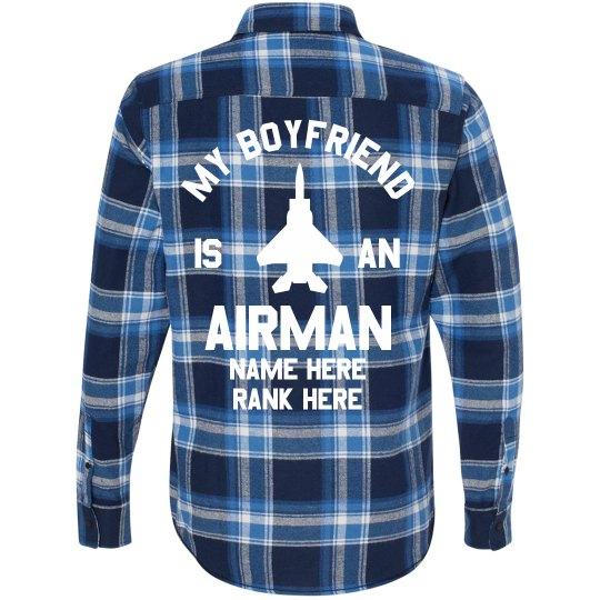 13dceea48 My Air Force Boyfriend Is So Fly Unisex Long Sleeve Plaid Flannel Shirt
