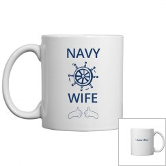 Personalize navy wife coffee mug