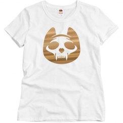 Metallic Cat skull Halloween Tee