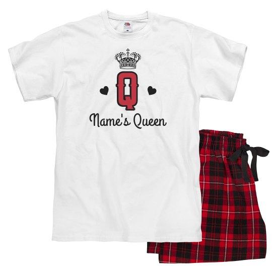 6098607187 Custom King Queen Of Hearts Couple Ladies Pajama Set