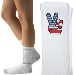 Fourth of July Peace Socks
