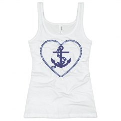 Navy Nautical Heart Anchor
