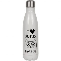 Add Your Name I Love Soc-purr Water Bottle