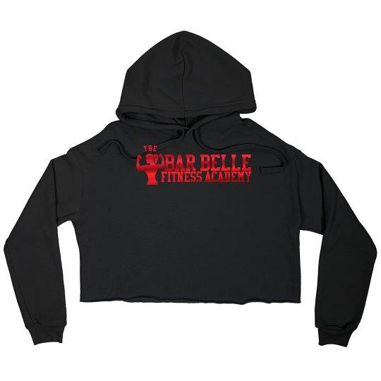 BBFA Black crop hoodie red metallic letters