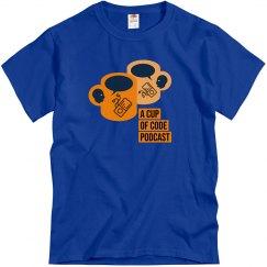 Mens Blue A Cup of Code Podcast Alt-Design T-Shirt