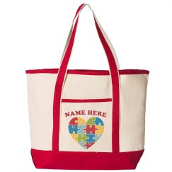 Custom Name Autism Heart Tote