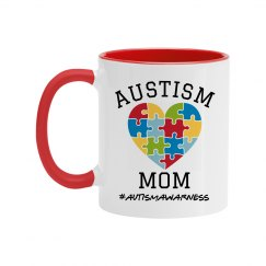 Autism Mom Heart Awareness Mug