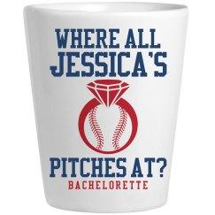 Fun Baseball Bachelorette Shot Glasses With Name