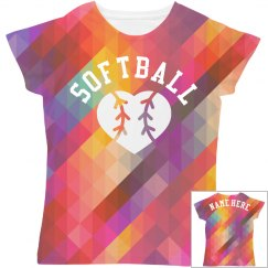 Custom Softball All Over Print Tee