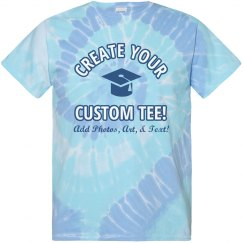 Custom Grad Text Tie-Dye Tee