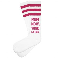 Run Now, Wine Later Funny Socks
