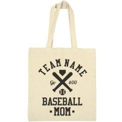 Custom Baseball Number Mom Tote