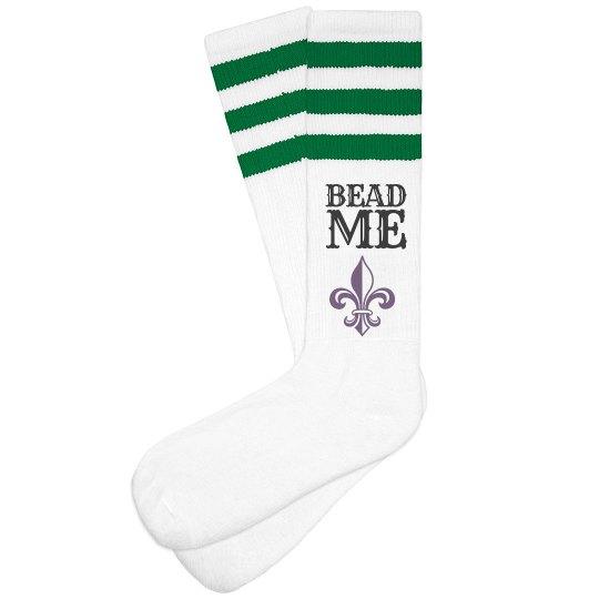 Bead Me This Mardi Gra Socks