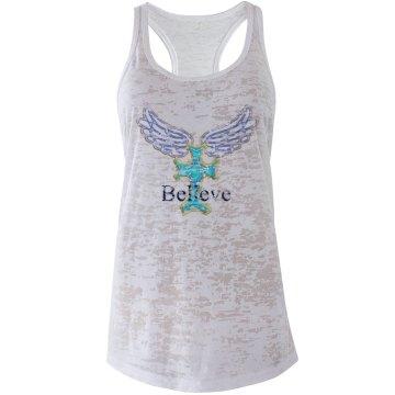 Believe Cross with Wings
