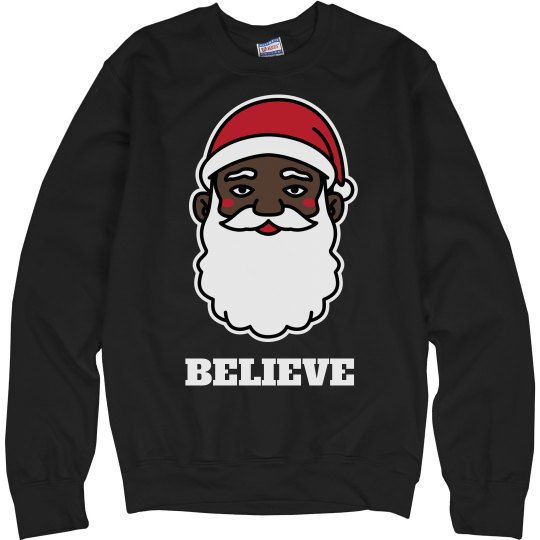 Believe In Black Santa Sweater