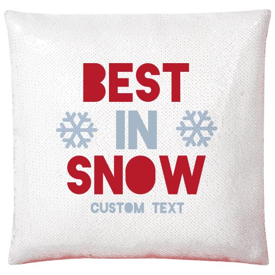 Best In Snow Custom Red Holiday Sequined Pillow Case