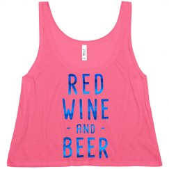Blue Metallic Red Wine and Beer