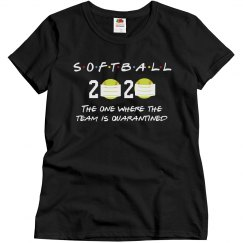 Funny Quarantined Softball Team Tee