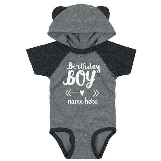 Birthday Boy Custom Name Baby Bodysuit