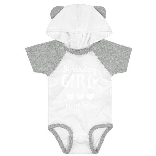 Birthday Girl Cute Custom Hooded Bodysuit