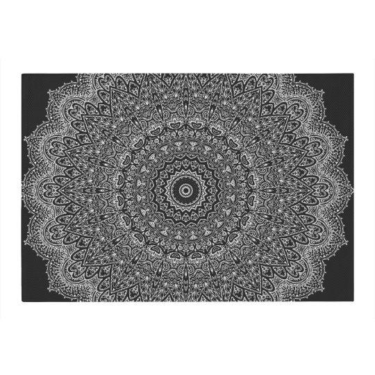 Black & White Mandala Area Rug