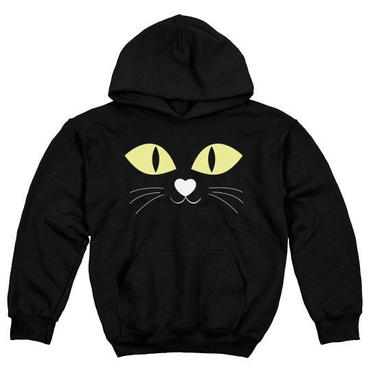 Black Cat Halloween Kids Sweatshirt
