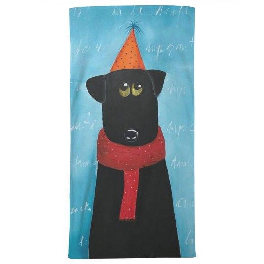 Black dog with orange hat (towel)
