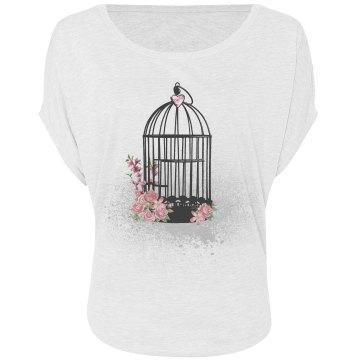 Black Floral Birdcage