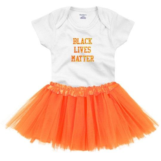 Black LIves Matter Baby Tutu Orange Glitter Text