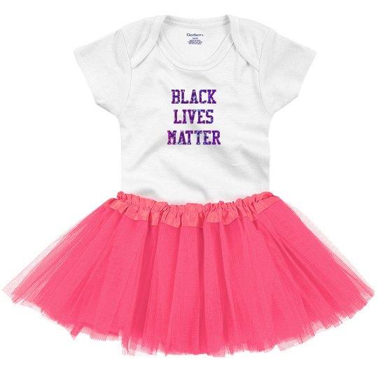 Black Lives Matter Baby Tutu Purple Glitter Text