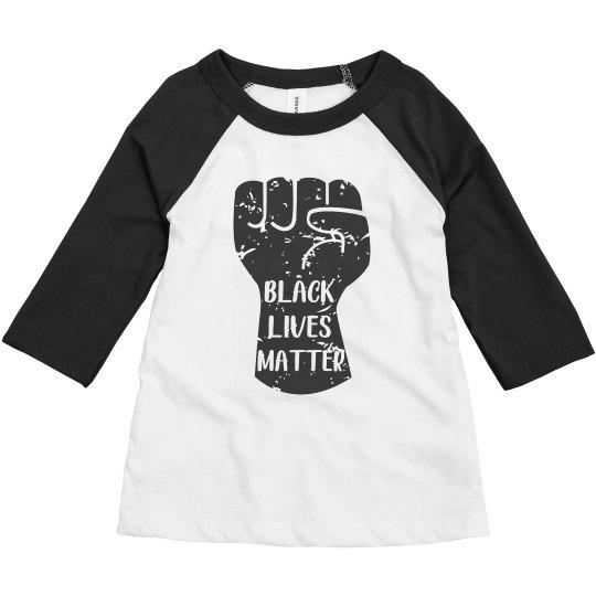 Black Lives Matter Fist Toddler Raglan Shirt