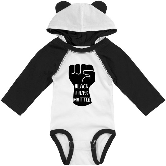 Black Lives Matter Infant Onsie Raglan Bodysuit w/Ears