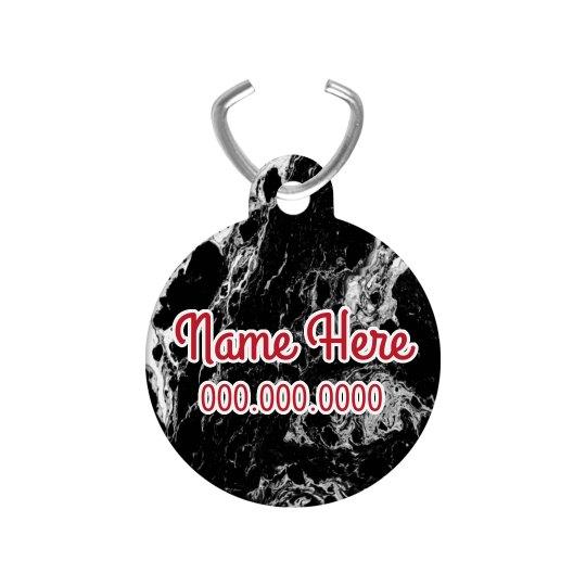 Black Marble Custom Name Pet Tag