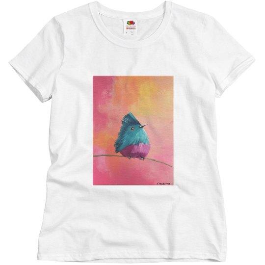Blue bird pinkish background (t shirt)