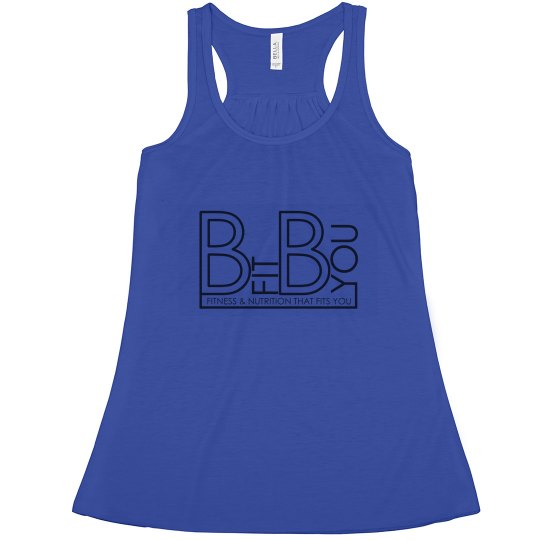 Blue Flowing Tank Black Logo
