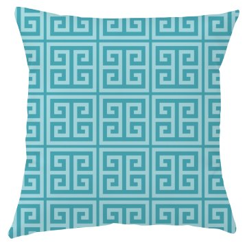 Blue Greek Key Pattern Throw Pillow Cover