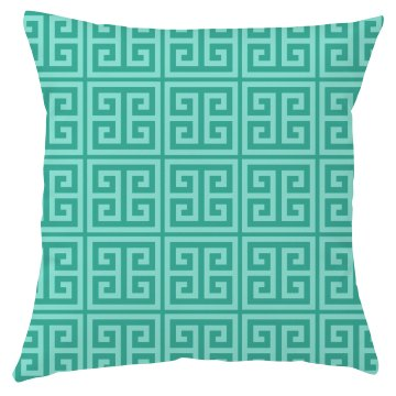 Blue Green Greek Key Pattern Throw Pillow Cover