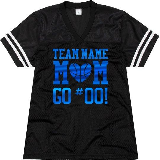 Blue Metallic Basketball Mom